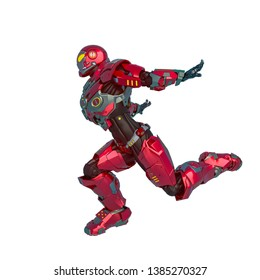 knight vision in a sci fi outfit in a white background. This super hero in clipping path is very useful for graphic design creations, 3d illustration