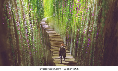 7c8287b68 knight walking on wooden bridge that surrounded by green vines and flowers,  digital art style