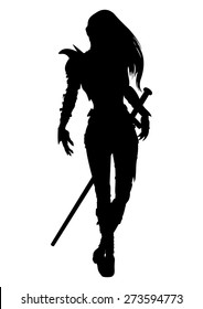 Knight woman silhouette. Stylized silhouette of walking woman warrior with a sword, in a fantasy armor