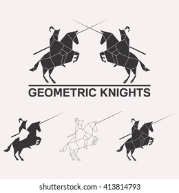 Knights logo set. Knights jousting geometric lines silhouette isolated on white background vintage design element illustration set