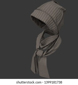 Knit cap and scarf. Weared to the invisible girl. Winter warm clothing accessories. 3D illustration. Isolated with clipping path.