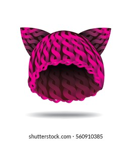 Knit pink cat hat as a symbol of female solidarity.