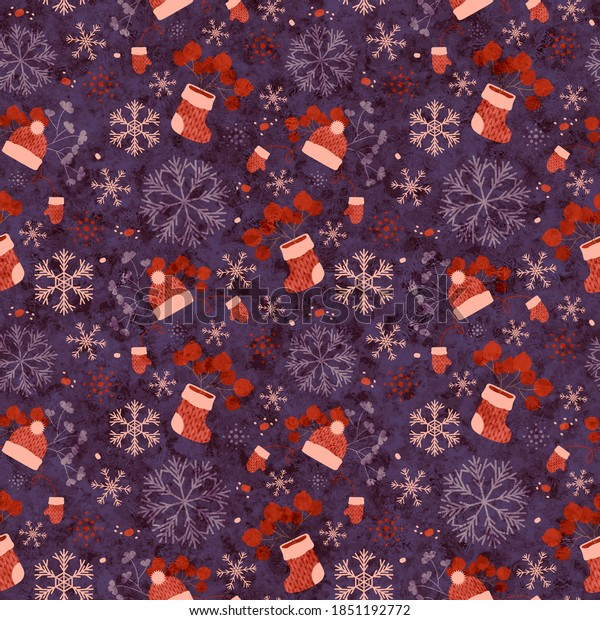 Knitted boots, mittens and cap with snowflakes and berries, purple. Christmas, seamless pattern. Decorative shabby and melange festive background for printing on various products.