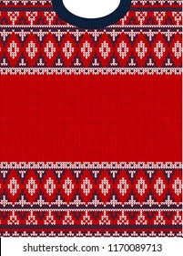 Knitted Chrismas tribal ornament ugly sweater pattern. Ethnic aztec jumper round collar. scandinavian style textile, greeting business card poster background, phone case print. Red, blue, white
