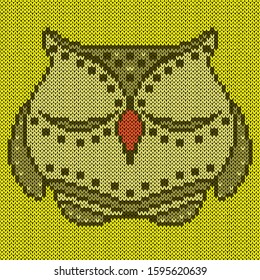 Knitting of cartoon amusing sleepy owl with closed eyes in green hues on the yellow background, illustration for textile production