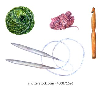 Knitting and crocheting implements set. Watercolor circular knitting needles, wooden crochet and two balls of yarn