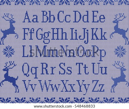 Knitting Latin Letters Deers Stars Winter Stock Illustration