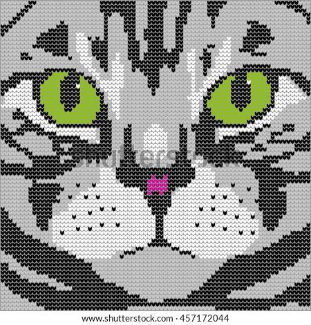 Knitting Pattern Face Cat Stock Illustration 457172044 Shutterstock