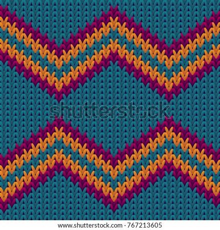 8246f5faa Knitting Pattern Zigzag Stripes Image Textile Stock Illustration ...