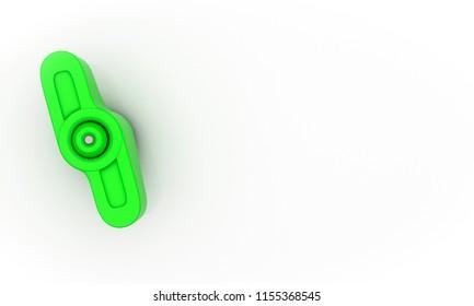 Knob finger screw green on white background 3d illustration