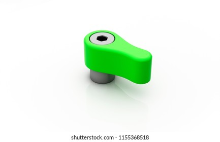 Knob green on white background 3d illustration