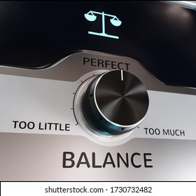 """A Knob Labeled """"Balance"""" Set in the Middle as """"Perfect"""" [3D Rendering]"""