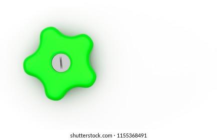 Knob star form green on white background 3d illustration