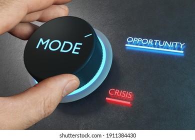 Ein Knopf, um die Krise in eine Chance zu verwandeln. Unternehmensvision und Strategiekonzept. 3D-Rendering
