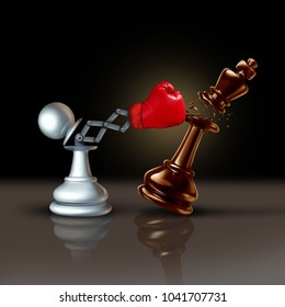 Knock out business concept or knocking and punching symbol as a secret weapon with a chess pawn beating the king piece with a hidden red boxing glove as a 3D illustration.