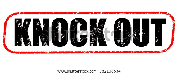 knock out red and black stamp on white background.