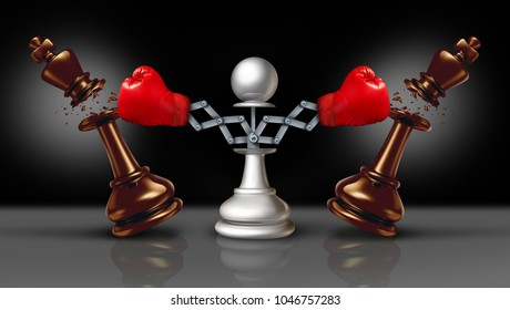 Knocking out competition business concept or knock and punch symbol as a secret weapon with a chess pawn beating competitors with a hidden red boxing glove as a 3D illustration.