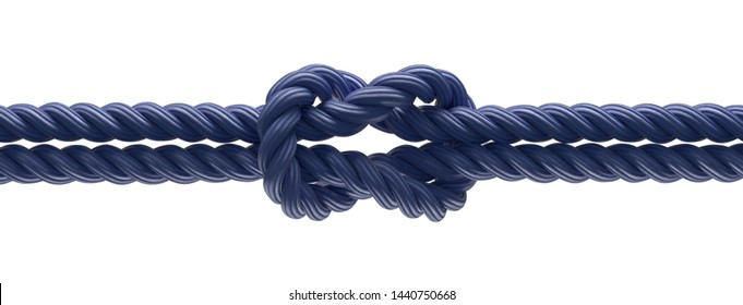 Knot in thick rope or rope as connection concept (3d rendering)