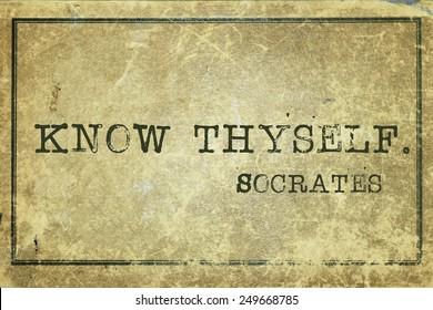 know thyself - ancient Greek philosopher Socrates quote printed on grunge vintage cardboard
