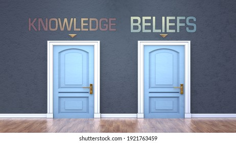 Knowledge and beliefs as a choice - pictured as words Knowledge, beliefs on doors to show that Knowledge and beliefs are opposite options while making decision, 3d illustration