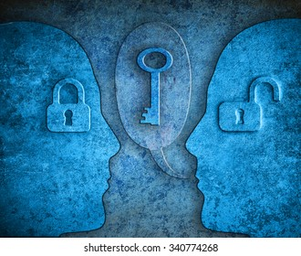 knowledge digital illustration concept with human silhouette padlocks and kay