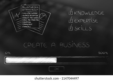 knowledge expertise and skills conceptual illustration: progress bar loading and  captions next to business strategy documents