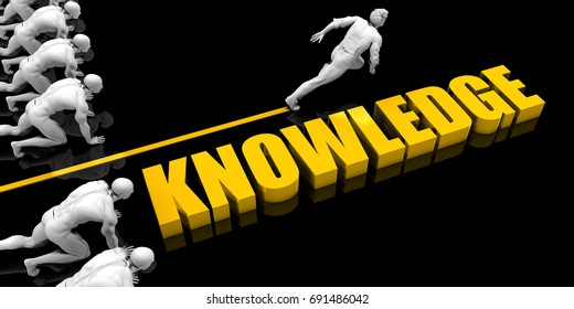 Knowledge Leader with a Man Having a Head Start 3D Illustration Render