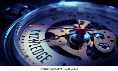 Knowledge on Pocket Watch Face with Close View of Watch Mechanism. Time Concept. Vintage Effect.