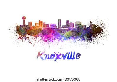Knoxville skyline in watercolor splatters with clipping path