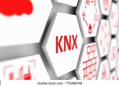 KNX concept cell blurred background 3d illustration