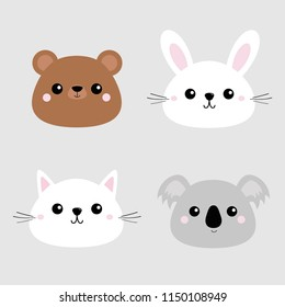 Koala, bear grizzly, rabbit, hare, cat kitten head face icon set. Pink cheeks. Cute cartoon character. Pet baby animal collection. Flat design. Gray background.