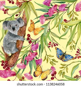 Koala on eucalyptus tree and butterflies. Seamless pattern for printing on fabric, Wallpaper . Illustration of watercolor hand painting