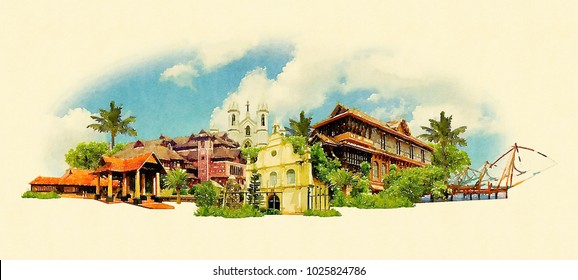 KOCHI city colored watercolor painting illustration