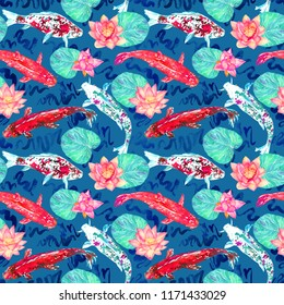 Koi carp collection swimming in pond with blue waves with pink lotus flowers, hand painted watercolor illustration, seamless pattern design on dark turquoise background, top view