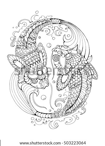 Koi Carp Fish Coloring Book Adults Ilustración de stock503223064 ...