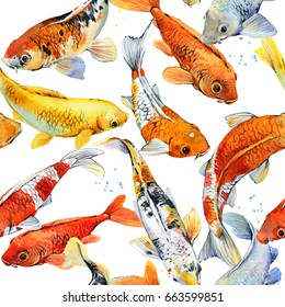 koi carp seamless pattern. watercolor fish illustration