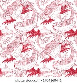 Koi carps Japanese red white seamless pattern