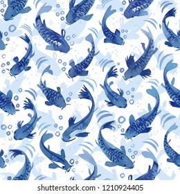 Koi fish dance blue watercolor seamless pattern inspired by Chinoiserie porcelain.