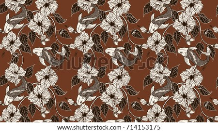 08c4f7cd2 Royalty Free Stock Illustration of Koi Fish Hibiscus Flower ...