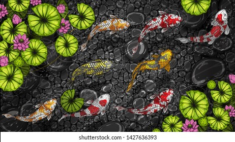 Koi fish with lotus by hand drawing.Beautiful fish in water.Carp fish graphics design art highly detailed in line art style.Koi fish for pattern or wallpaper.