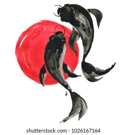 Koi fishes (carps) and red sun in Japanese painting style. Traditional ink, hand drawn illustration