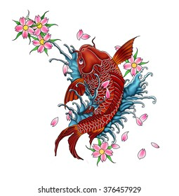 Koi-Fish tattoo design, japanese style