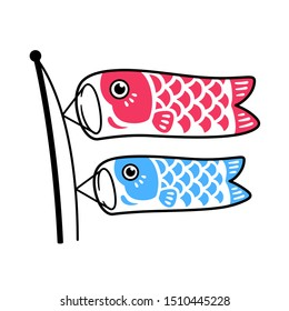 Koinobori, traditional Japanese fish flags drawing. Two koi carps waving in wing on pole, red and blue. Isolated clip art illustration.