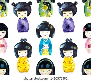 Kokeshi. Seamless pattern. Watercolor hand drawn illustration
