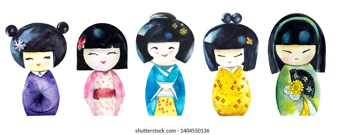 Kokeshi. Watercolor hand drawn illustration