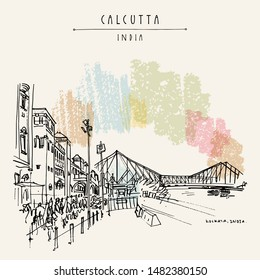 Kolkata (Calcutta), India. The British-era Howrah Junction Railway Station, Howrah Bridge across Hooghly River. Heritage architecture. Famous historical landmarks. Artistic hand drawn travel postcard