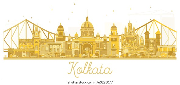 Kolkata India City skyline golden silhouette. Business travel concept. Kolkata Cityscape with landmarks.