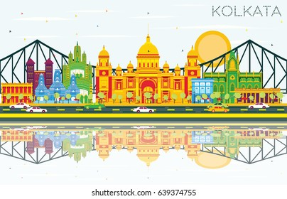 Kolkata Skyline with Color Landmarks, Blue Sky and Reflections. Business Travel and Tourism Concept with Historic Buildings. Image for Presentation Banner Placard and Web Site.