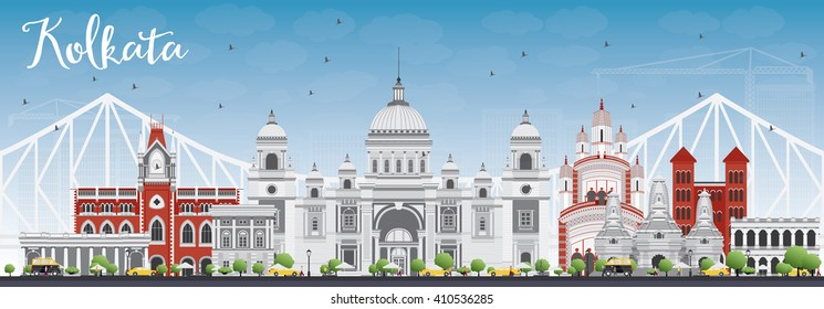 Kolkata Skyline with Gray Landmarks and Blue Sky. Business Travel and Tourism Concept with Historic Buildings. Image for Presentation Banner Placard and Web Site.