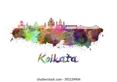 Kolkata skyline in watercolor splatters